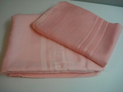 2 Vintage Large SOLID PINK TABLECLOTHS  for Use--Repair or Cutter Crafts-DAMASK