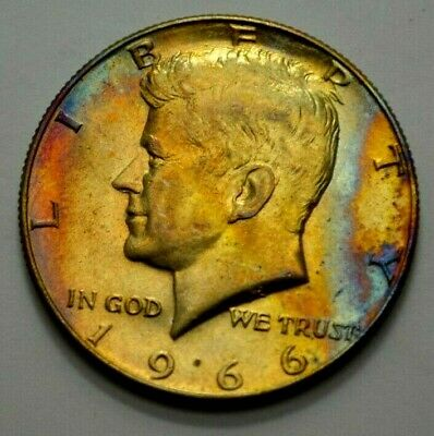 1966-P Kennedy Half Dollar Silver Coin 50C Amazing Toning , No Reserve !