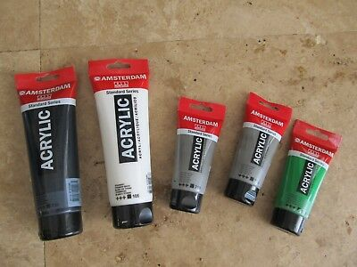 Lot, 5 Amsterdam acrylic paints, black, white, gray, used