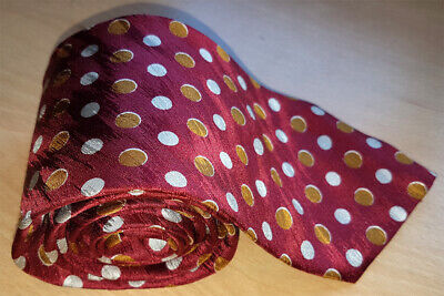 Valentino Men's Red with White & Gold spots – Hand Made in Italy 100% Silk Tie
