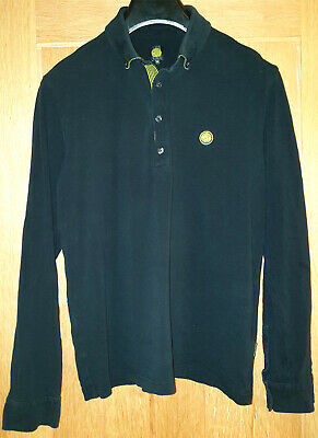 Pretty Green (Size XL) Smart Black Long Sleeved Men's Polo Shirt