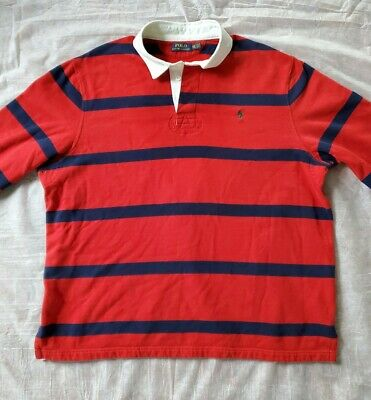 Mens Polo Ralph Lauren LS Rugby Polo Shirt - Fleece Lined Red + Navy Stripe XXL
