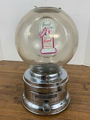 Vintage Ford 1 Cent Bubble Gum Machine Plastic Globe- No Lock