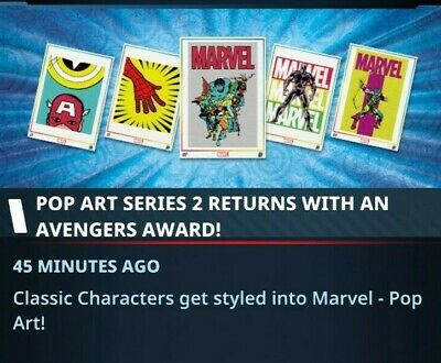 Topps Marvel Collect Card Trader POP ART 2020 Series 2 Set of 9 with Award