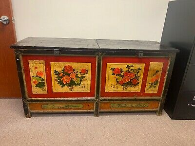"""Large Antique Chinese Red Lacquer Wedding Trunk Chest 65"""""""