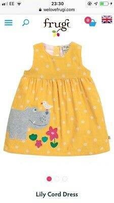 BNWT FRUGI ORGANIC YELLOW  SPOTTED CORD Hippo DRESS Aged 2-3 YRS Retail £32