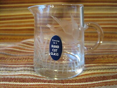 Vintage Clear Hand Cut Glass Corning NY Glass Center 2 Labels Small Creamer Duck