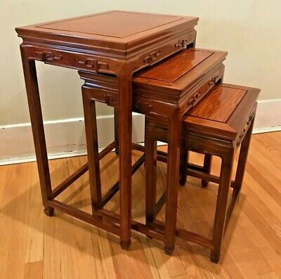 Vintage Set of 3 Chinese Rosewood Nesting Tables Carved.