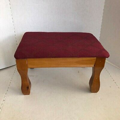 """Powell foot stool maple Wood burgundy fabric size 14.5"""" x 10.5"""" great condition"""
