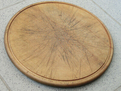"Vtg 9"" Old Antique Rustic Wooden Oval Dish Plate Round Bowl Cutting Board Peel 2"