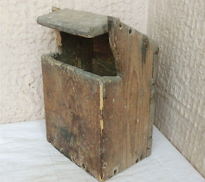 "13"" OLD Antique primitive Rustic Kitchen Farmhouse Wooden Treen Hanging Wall Box"
