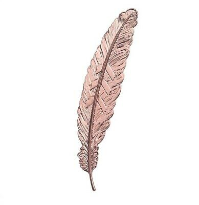 Beautiful Vintage Inspired Rose Gold Metal Feather Bookmark. Great Gift Idea