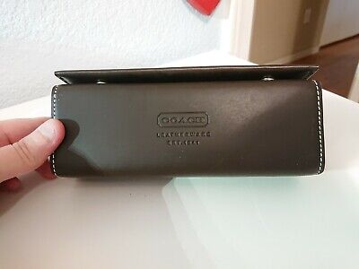 Coach Brown Leather Leatherware cube Hard Eyeglass Case