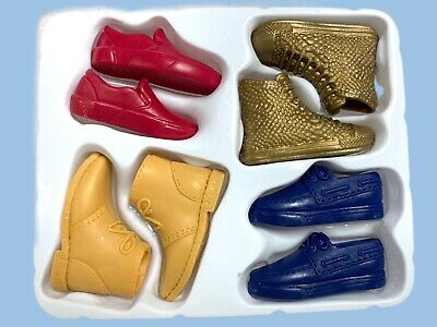 Barbie KEN Doll Shoes Pack Lot Set 4 Pairs Red Gold Blue Mustard Yellow