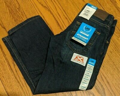 NWT Boys Lee Premium Select Straight Leg Jeans Adjustable Waist Dark Blue Bowery