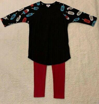 Lularoe Girls Size 14 Outfit Red Leggings And Randy Tunic