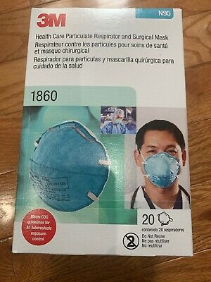 3M 1860 N95 Mask Particulate Respirator and Surgical Mask Box of 20/EXP 2024 NEW