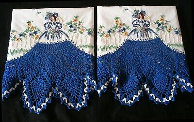 White Sateen Cotton Hand Embroidered Crochet  PillowCases Southern Belle Pair 6#