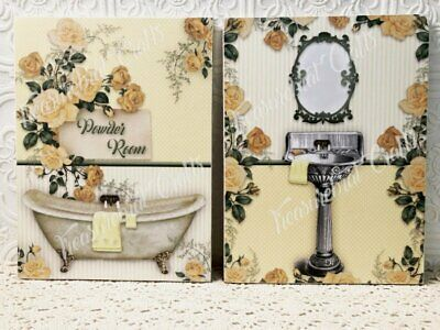 French Country Shabby Cottage Chic Wall decor Sign Set of Two - Bathroom