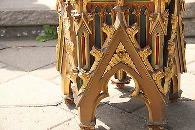 19C French Cathedral Painted Carved Oak Gothic Spire Architectural Element