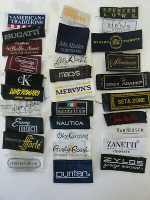 30 Necktie clothing manufacturer's labels Brand Names  Lot B