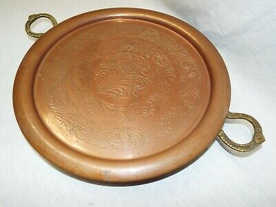 Lg Vintage Arts & Crafts Mission Copper Tray w Riveted Brass Handles SUPER COOL