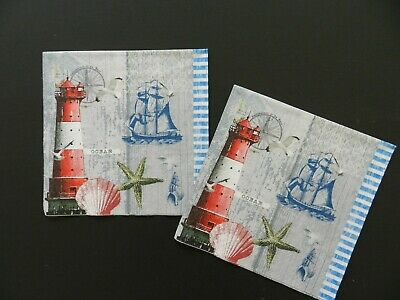 for Decoupage Decopatch Craft Lighthouse and Compass 4x Paper Napkins