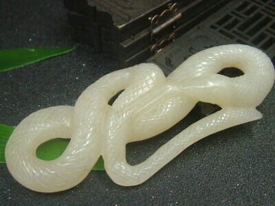 Antique Chinese Celadon Nephrite Hetain OLD-Jade Hollow Snake Pendant/Statues1