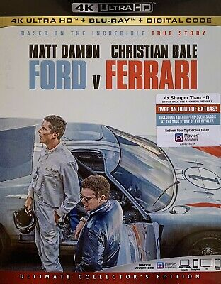 FORD v FERRARI ~ 4K ULTRA HD + Blu-Ray + Digital *New *Factory Sealed