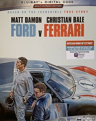 FORD v FERRARI ~ Blu-Ray + Digital *New *Factory Sealed