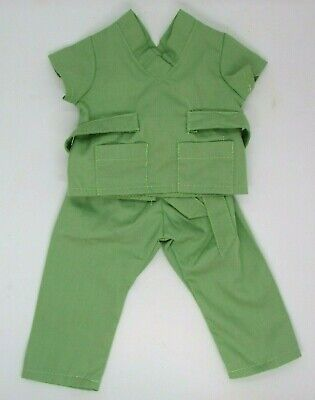 """18"""" Doll Size GREEN Doctor/Nurse SCRUBS, Made By Wish, Fits American Girl Doll"""