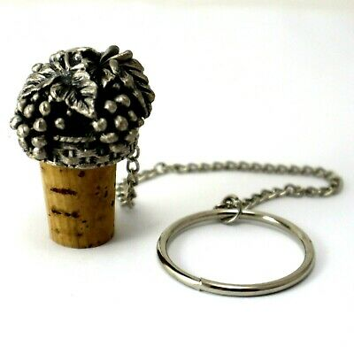 Wine Pewter Cork Grapes Design Bottle Stopper Collectable Tableware Decor Bar