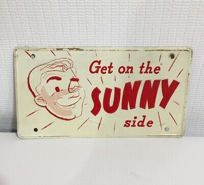 Get on the SUNNY Side SUNSHINE BEER Ad Sign Vanity License Plate Reading Pa