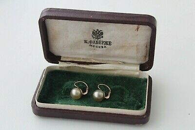 FABERGE design GOLD 56 Earrings with pearls + box 19th century