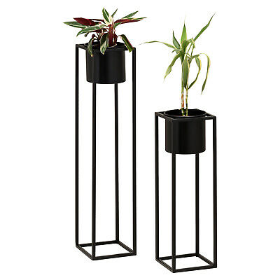 Hartleys Small Round Freestanding Black Metal Plant Pot Tall Square Floor Stand