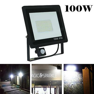 Slimline Outdoor Security Light Flood LED PIR Motion Sensor Cool Floodlight 100W