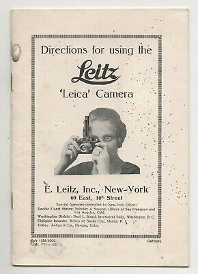 """Directions for using the Leitz """" LEICA """" Camera."""