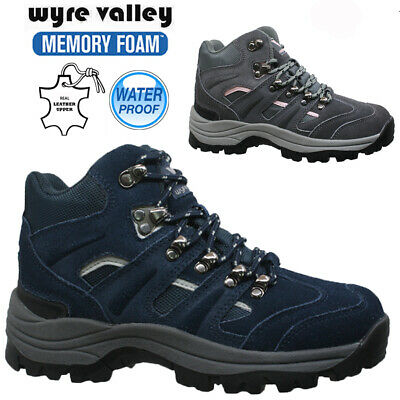Ladies Leather Waterproof Memory Foam Hiking Trail Walking Shoes Boots Trainers
