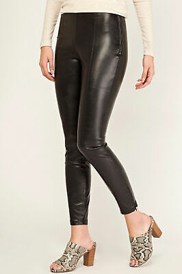 New Look Black Faux Leather High Waist Slim Skinny Leggings Trousers Size 10-18