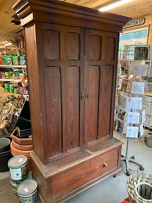 Large Old Pitch Pine Church Rectory Double Door Cupboard With Draw