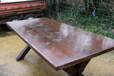 Lovely Vintage Rustic Solid Oak French X-Frame Farmhouse Refectory Table