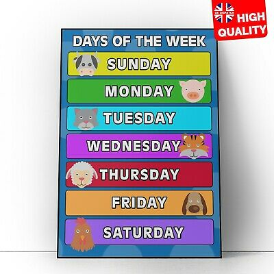 Days Of The Week Education Learning Print For Kids Children Poster A4 A3 A2 A1