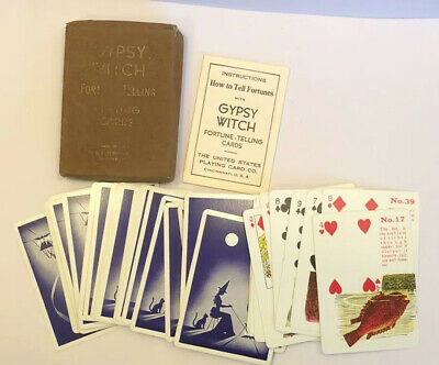 Gypsy Witch Fortune Telling Playing Tarot Cards Deck Missing 1 Card Velvet