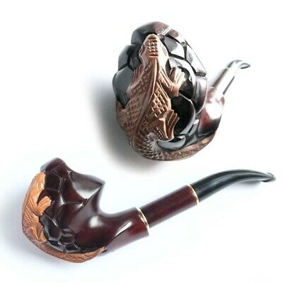 Salamander Wooden HAND CARVED Handmade Smoking Pipe/Pipes For 9 mm Filter