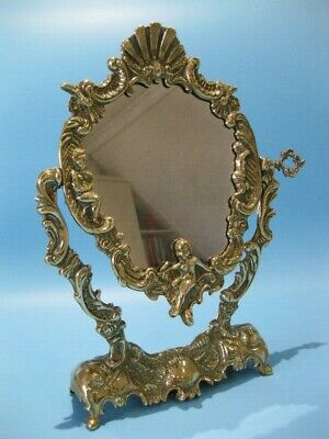 Beautiful Antique French Rococo Style Brass Swing Mirror Adorned With Cherubs