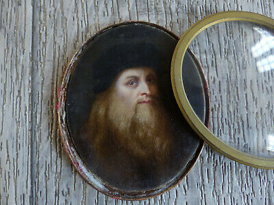 VERY FINE ANTIQUE 18th / 19th CENTURY OLD MAN MINIATURE PORTRAIT ( #2 )