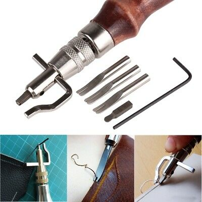 5 In1 DIY Wood Leather Craft Adjustable Pro Stitching Groover Crease Tools Set
