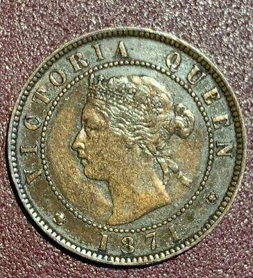 Prince Edward Is. 1871 Queen Victoria Bronze One Cent Coin (Km# 4)