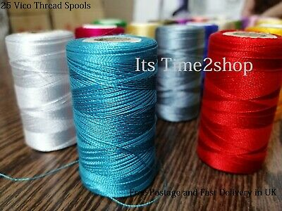 25 Color Spools Finest Quality Sewing All Purpose 100% Silk Thread spools Uk