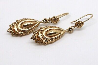 A Lovely Pair of Vintage Victorian Style 9ct Yellow Gold Dropper Earrings #17621